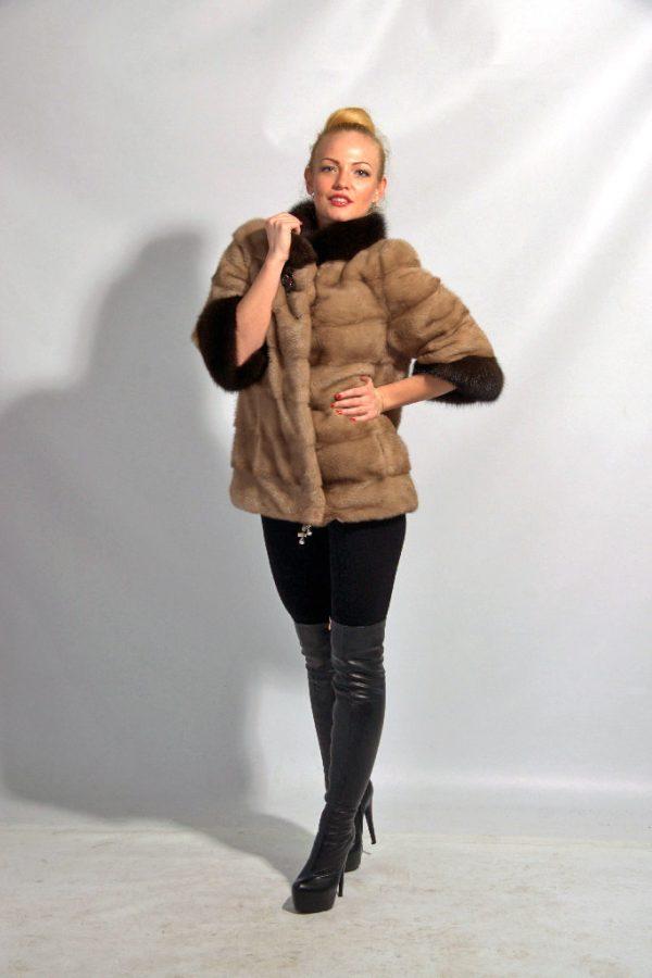 Куртка из меха норки цвет бежевый