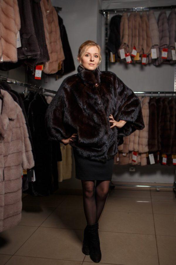 Куртка из меха норки цвет коричневый