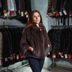 Куртка из меха норки без капюшона цвет коричневый