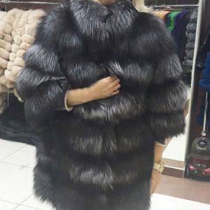 Полушубок из меха чернобурки цвет серый