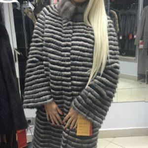 Пальто из меха норки на текстиле цвет серый