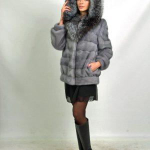 Куртка из меха норки цвет серый