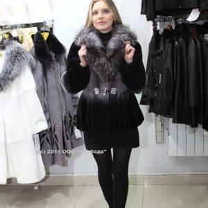 Куртка из меха кролика Rex цвет черный с отделкой из меха чернобурки