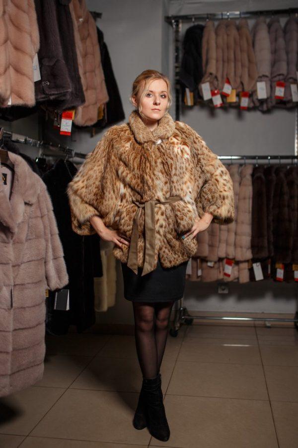 Куртка из меха камышовой рыси цвет леопард