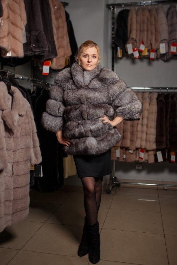 Куртка из меха чернобурки цвет серый