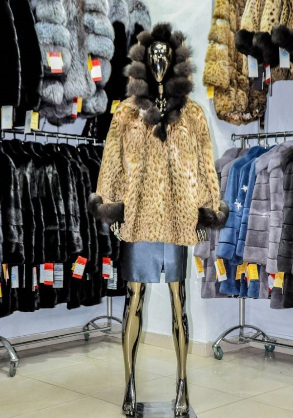 Полушубок из меха камышовой рыси цвет леопард